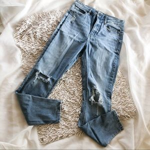OASIS high waisted light wash distressed jeans